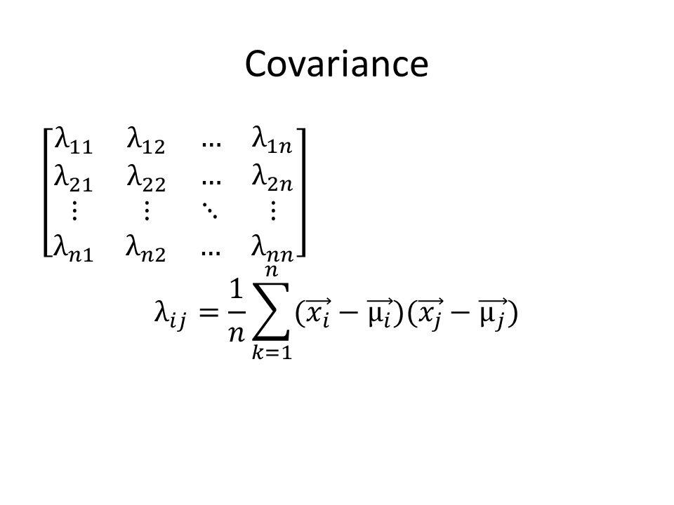 Covariance λ 11 λ 12 … λ 1𝑛 λ 21 λ 22 … λ 2𝑛 ⋮ λ 𝑛1 ⋮ λ 𝑛2 ⋱ ⋮ … λ 𝑛𝑛 λ 𝑖𝑗 = 1 𝑛 𝑘=1 𝑛 ( 𝑥 𝑖 − μ 𝑖 )( 𝑥 𝑗 − μ 𝑗 )