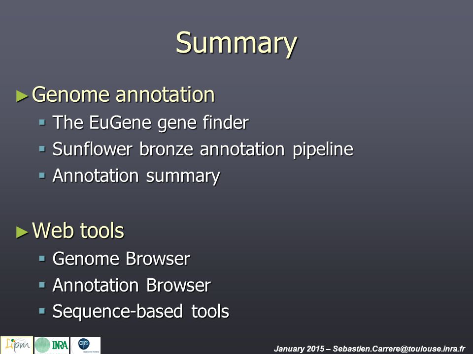 Summary Genome annotation Web tools The EuGene gene finder