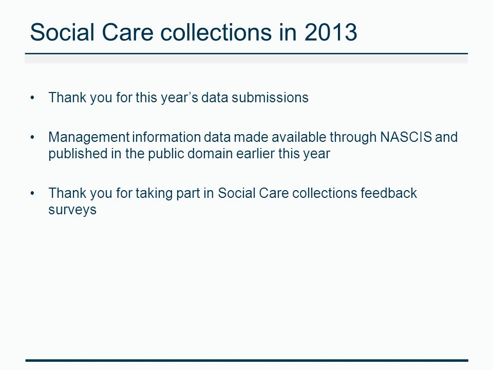Social Care collections in 2013