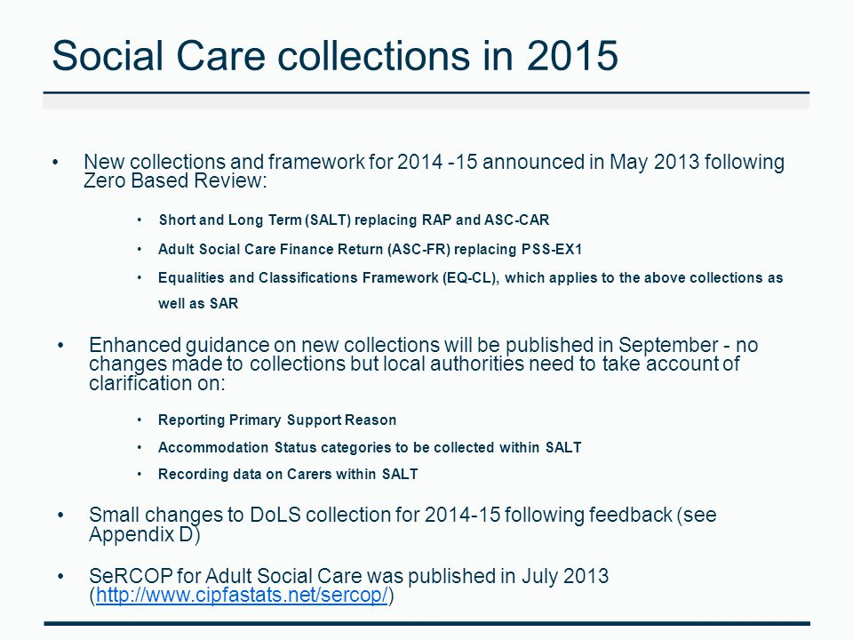 Social Care collections in 2015