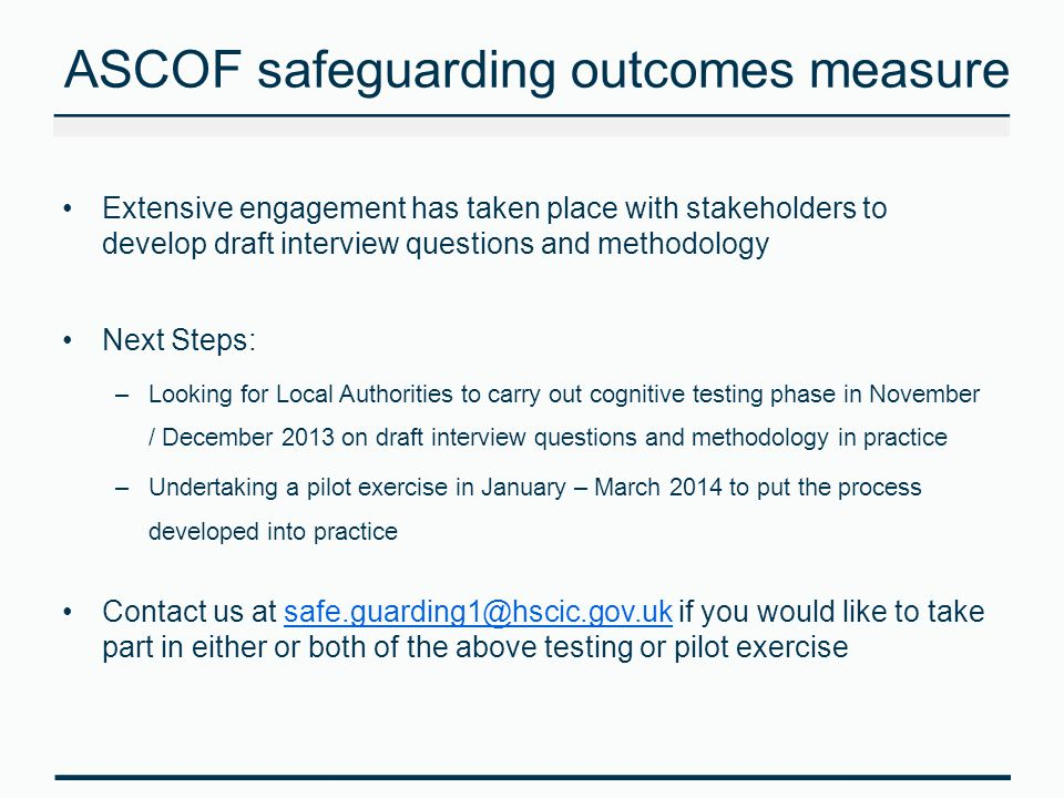 ASCOF safeguarding outcomes measure