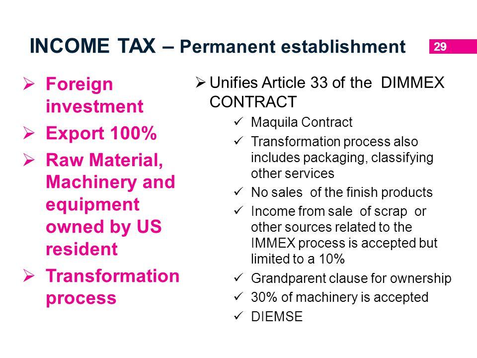 INCOME TAX – Permanent establishment