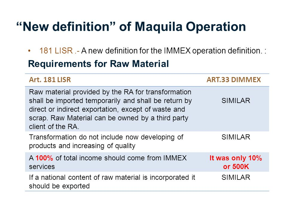 New definition of Maquila Operation