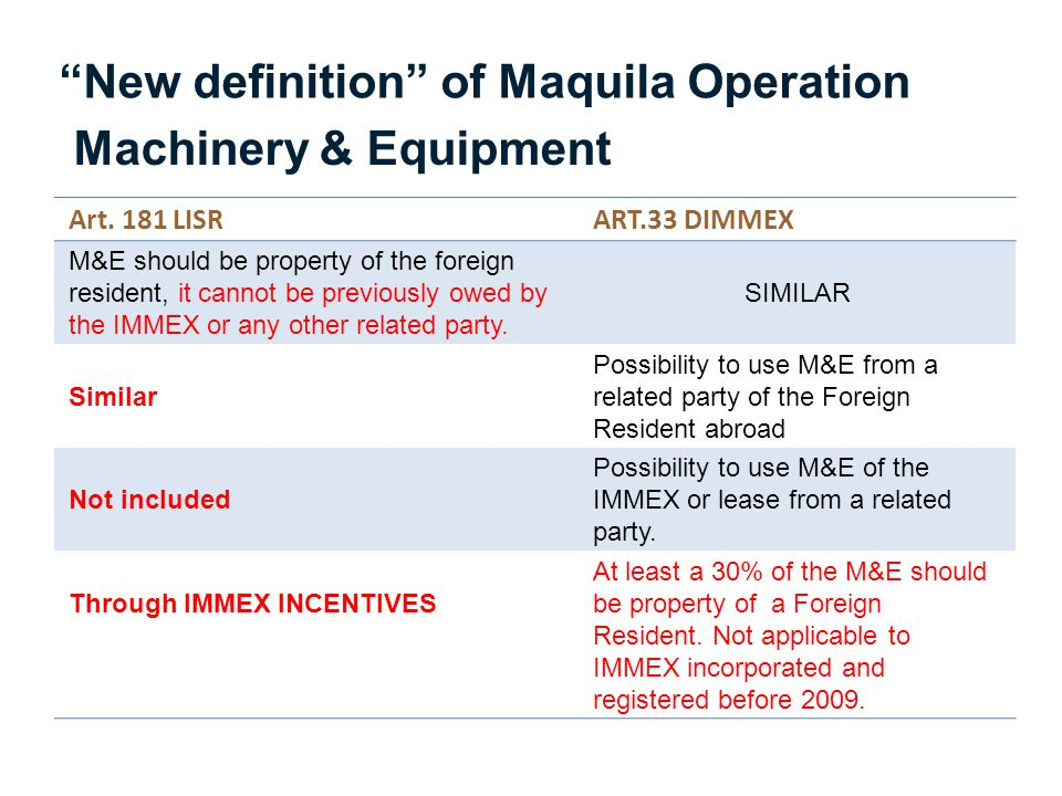 New definition of Maquila Operation Machinery & Equipment
