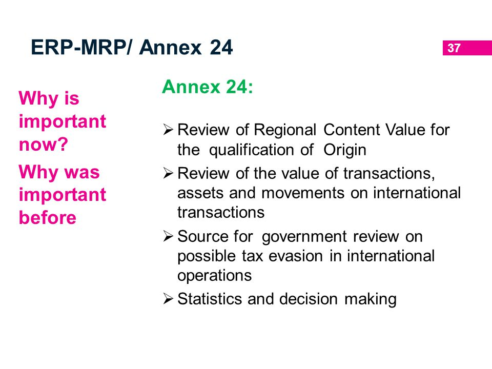 ERP-MRP/ Annex 24 Annex 24: Why is important now