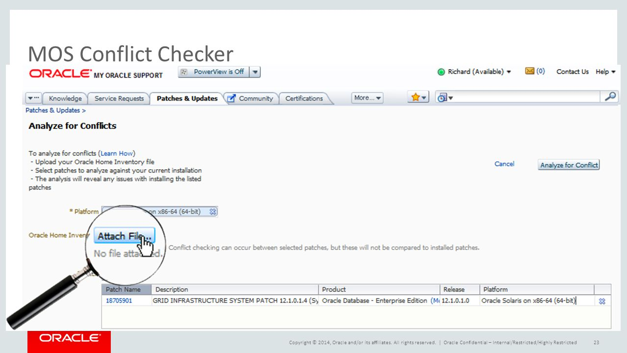MOS Conflict Checker Oracle Confidential – Internal/Restricted/Highly Restricted