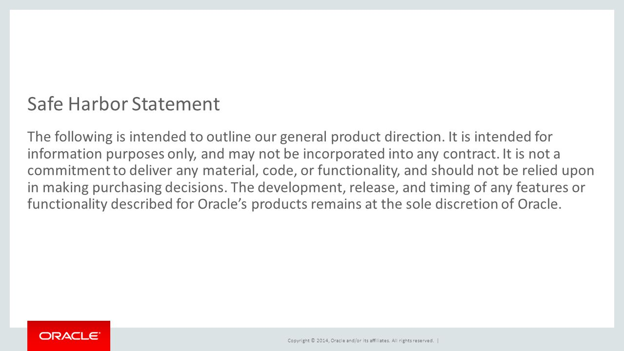 This is a Safe Harbor Front slide, one of two Safe Harbor Statement slides included in this template.