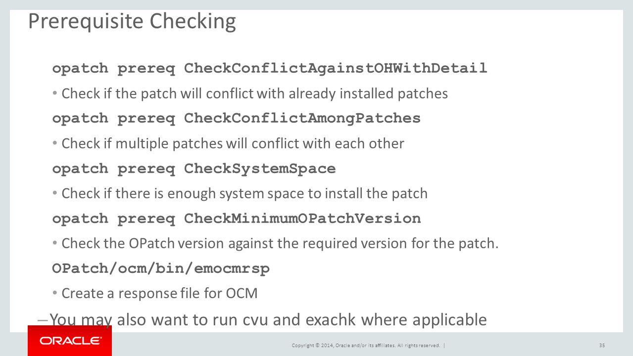 Prerequisite Checking