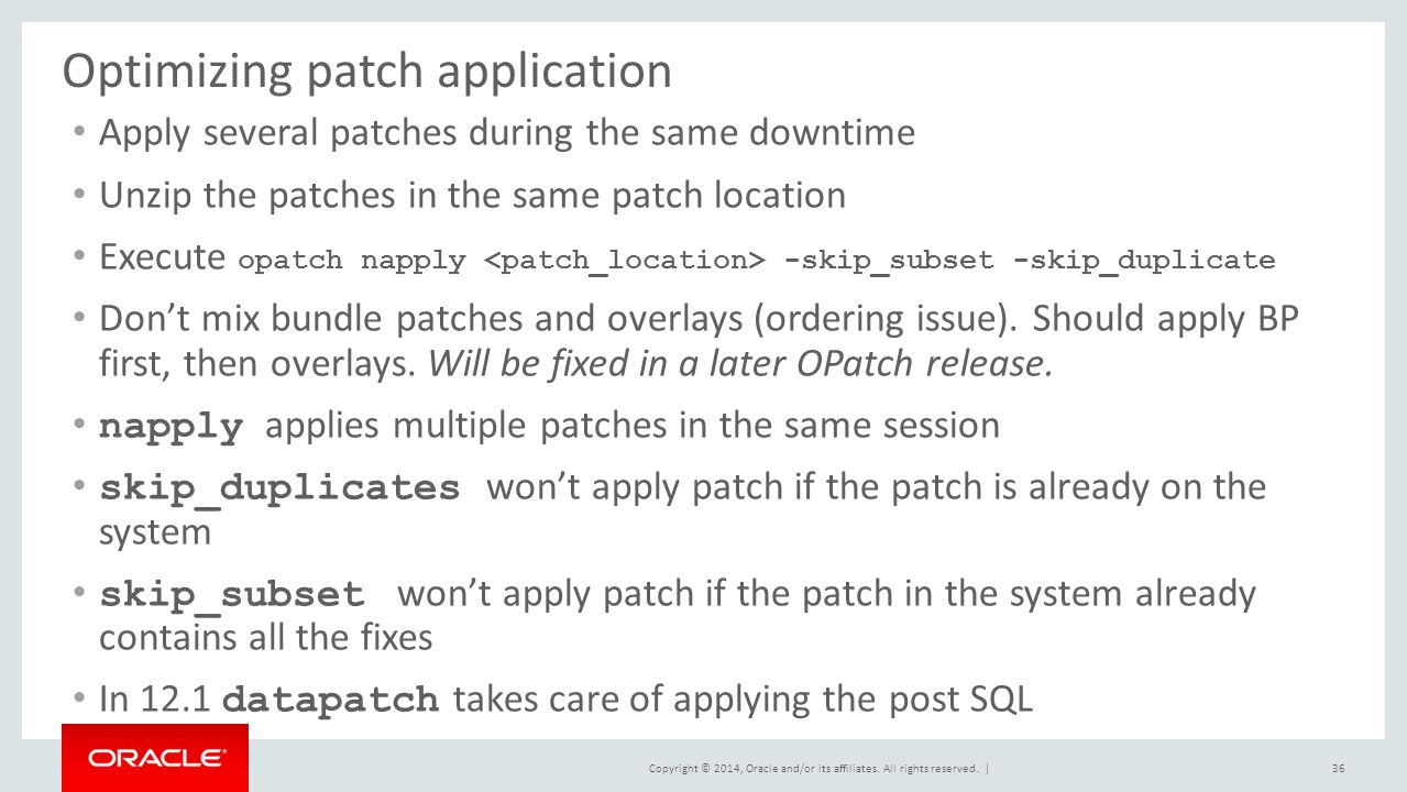Optimizing patch application