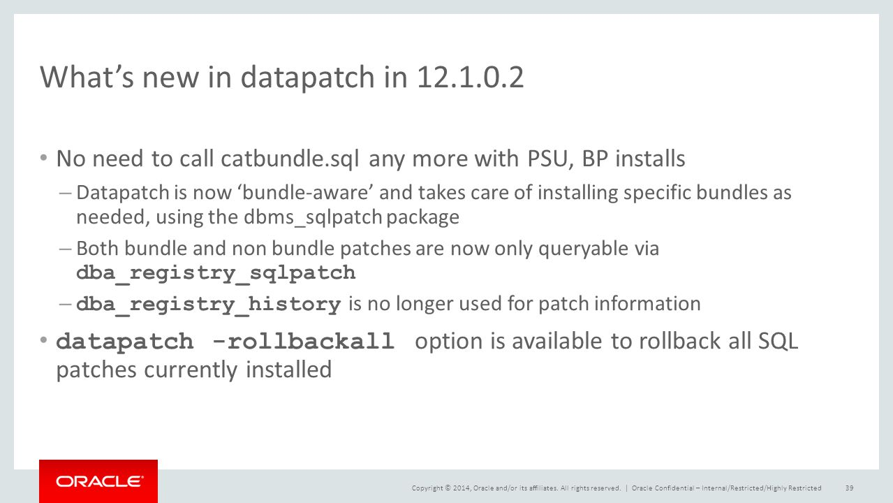 What's new in datapatch in 12.1.0.2
