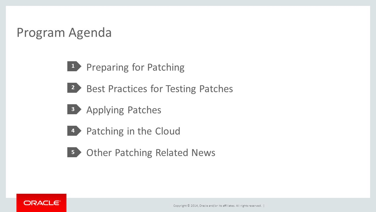 Program Agenda 1. Preparing for Patching Best Practices for Testing Patches Applying Patches Patching in the Cloud Other Patching Related News