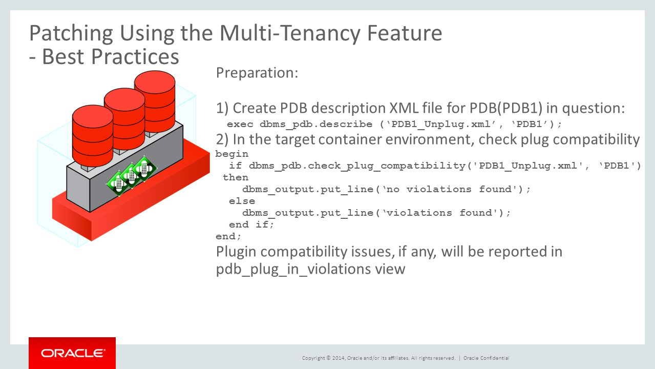 Patching Using the Multi-Tenancy Feature - Best Practices