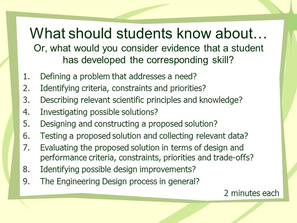 What should students know about… Or, what would you consider evidence that a student has developed the corresponding skill