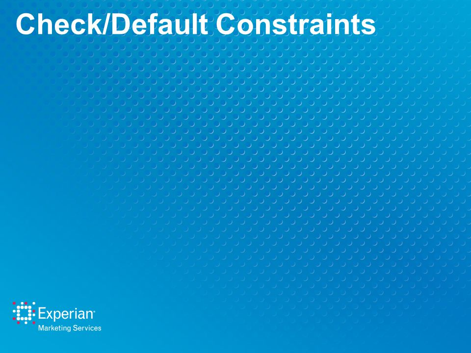 Check/Default Constraints