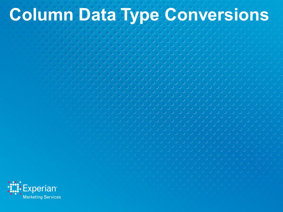 Column Data Type Conversions