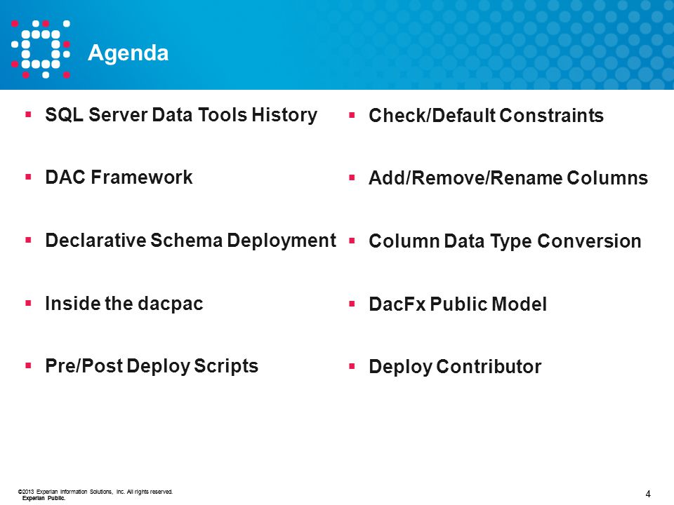 Agenda SQL Server Data Tools History Check/Default Constraints