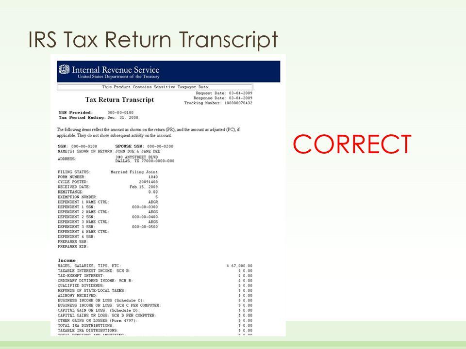 IRS Tax Return Transcript