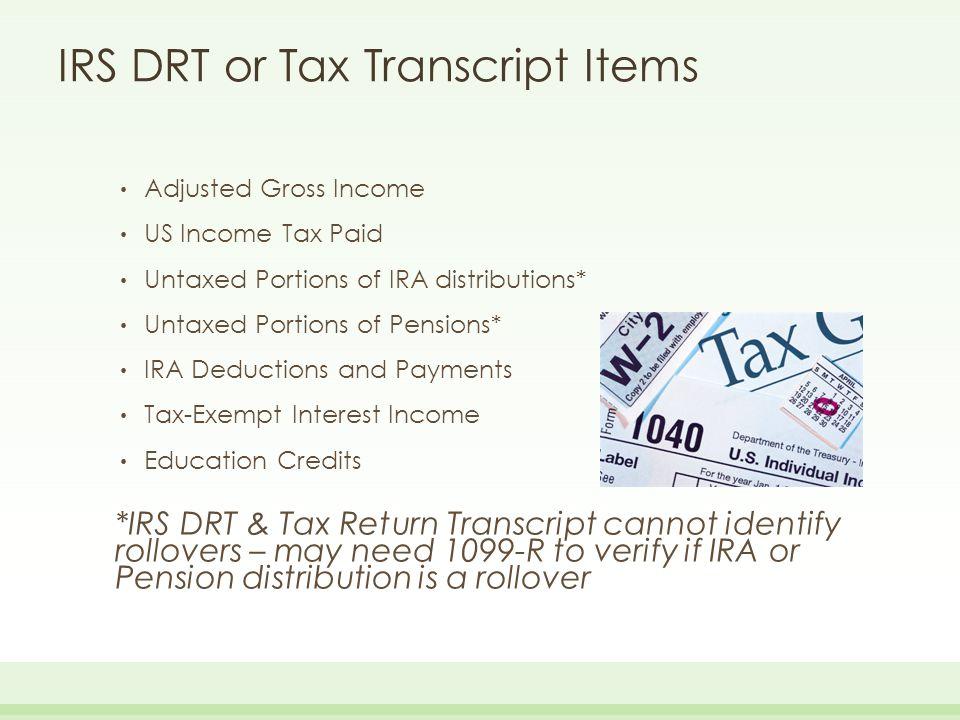IRS DRT or Tax Transcript Items