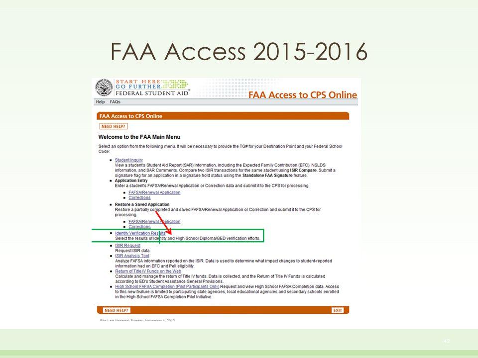 FAA Access 2015-2016