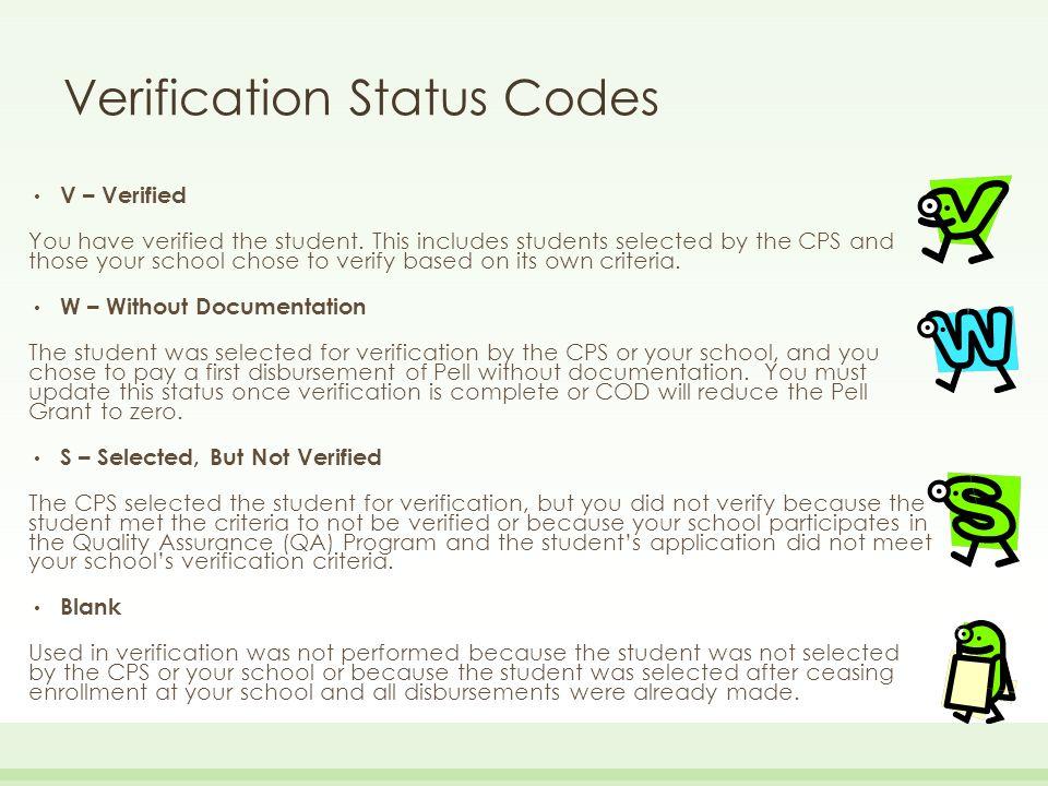 Verification Status Codes