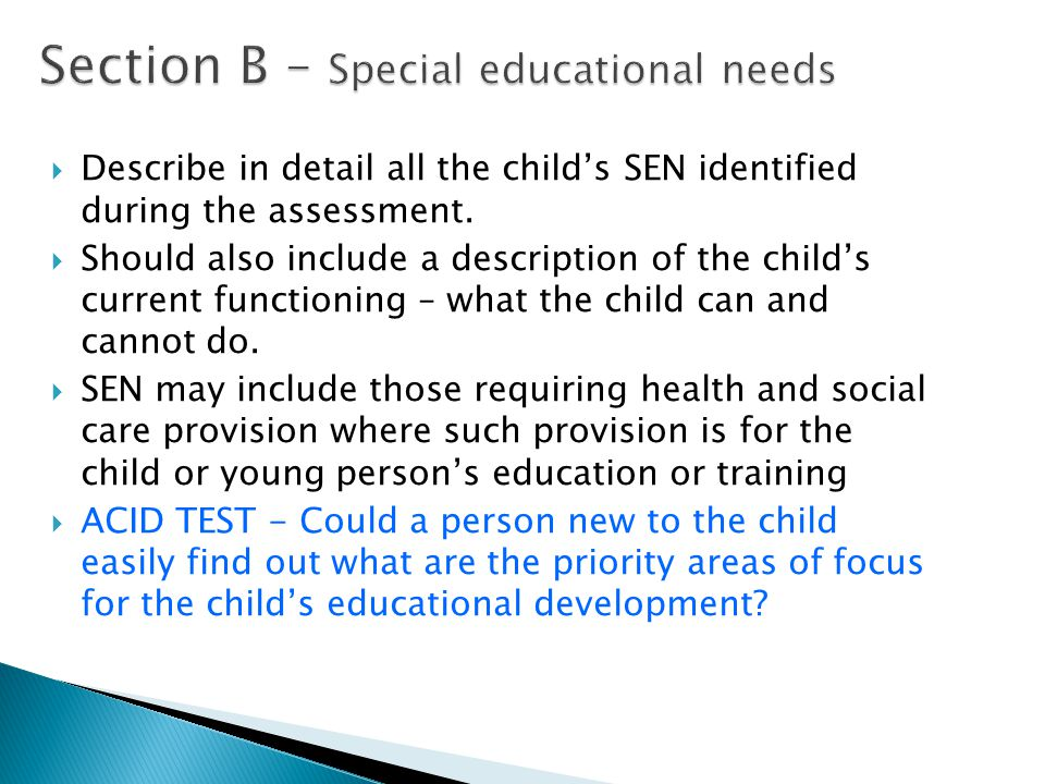 Section B – Special educational needs