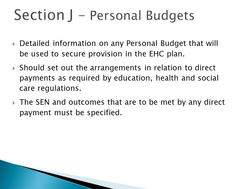 Section J – Personal Budgets