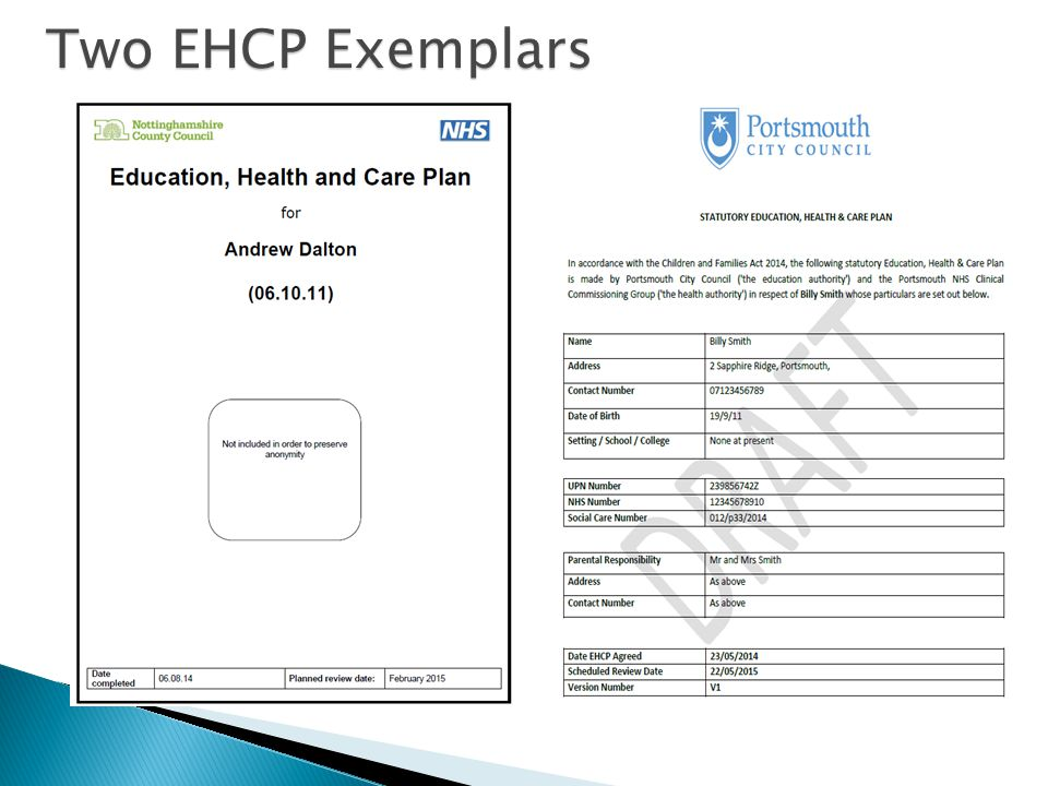 Two EHCP Exemplars