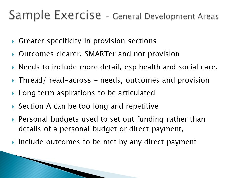 Sample Exercise – General Development Areas