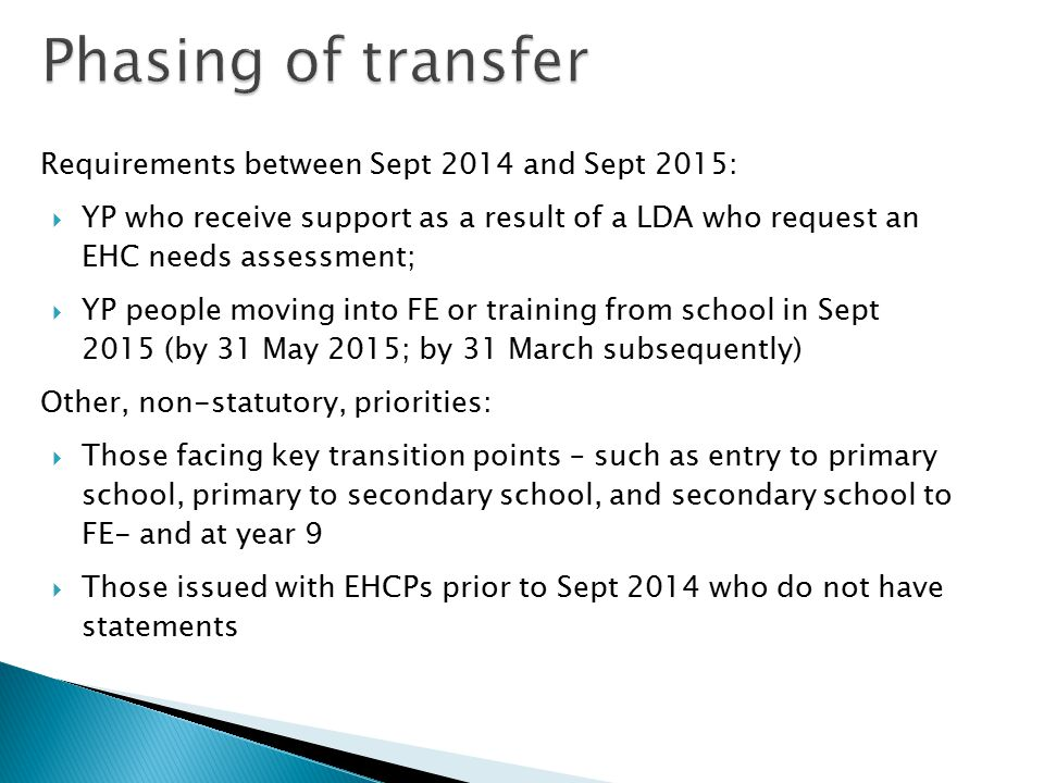 Phasing of transfer Requirements between Sept 2014 and Sept 2015: