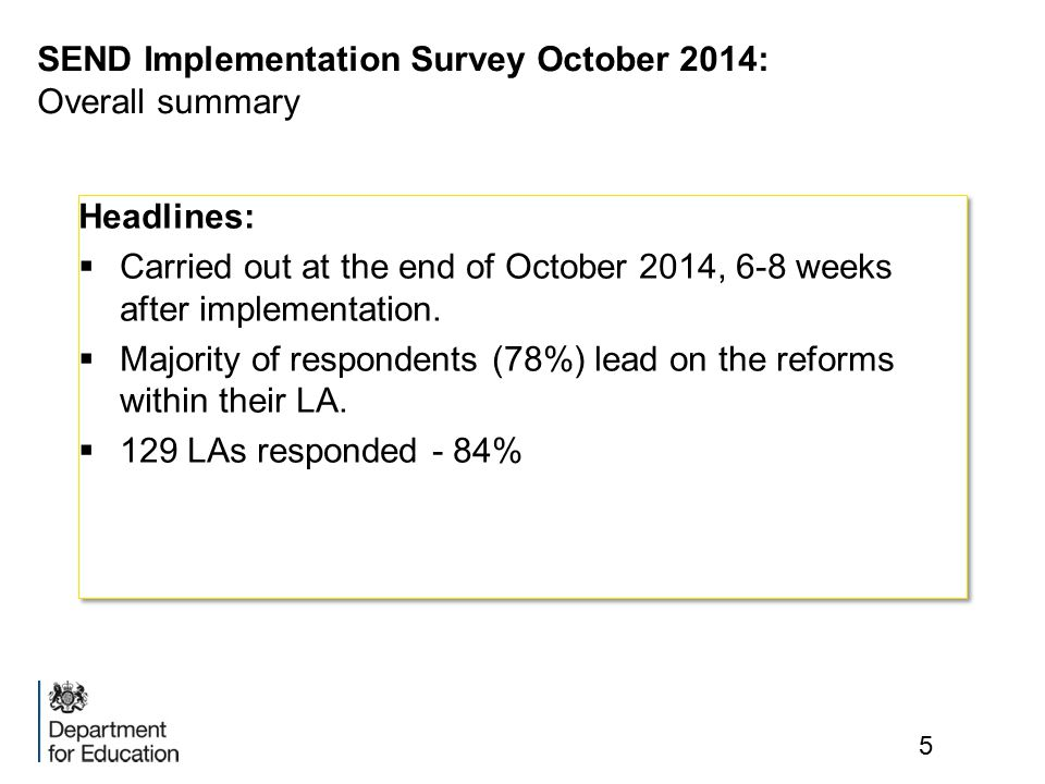 SEND Implementation Survey October 2014: Overall summary