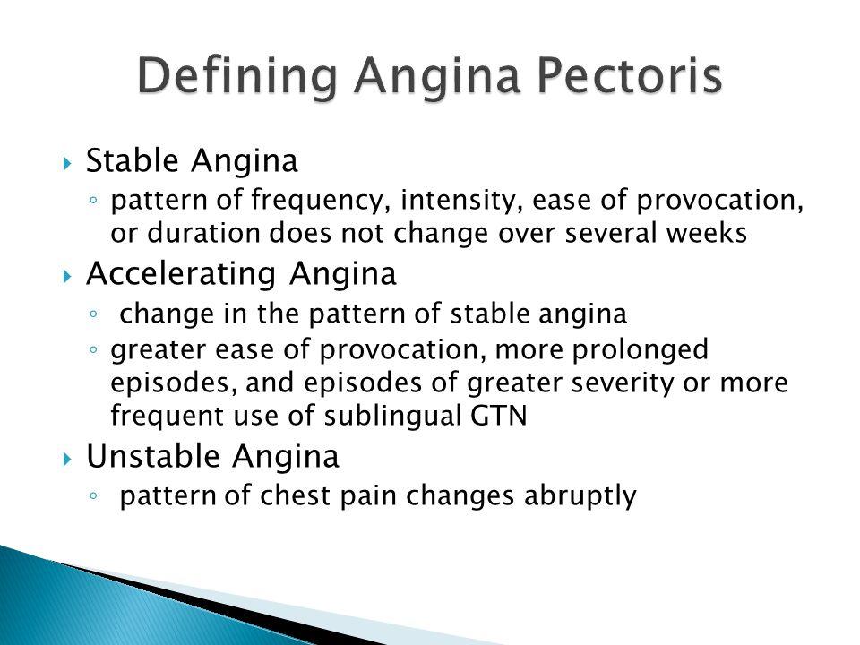 Defining Angina Pectoris