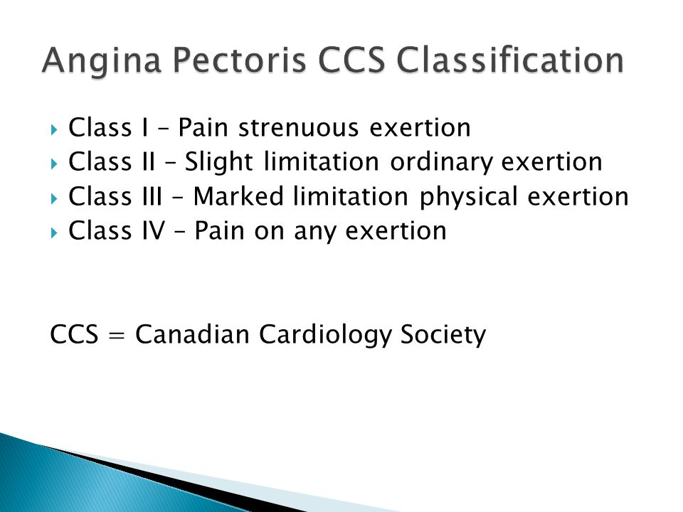 Angina Pectoris CCS Classification