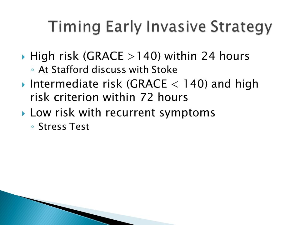 Timing Early Invasive Strategy