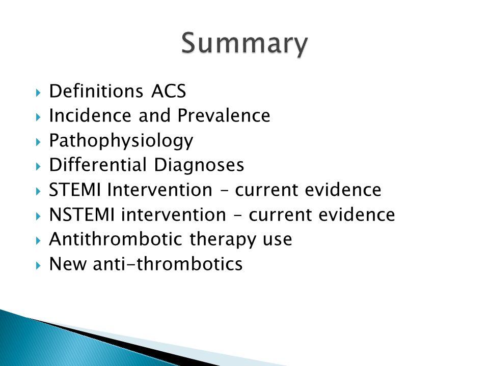 Summary Definitions ACS Incidence and Prevalence Pathophysiology