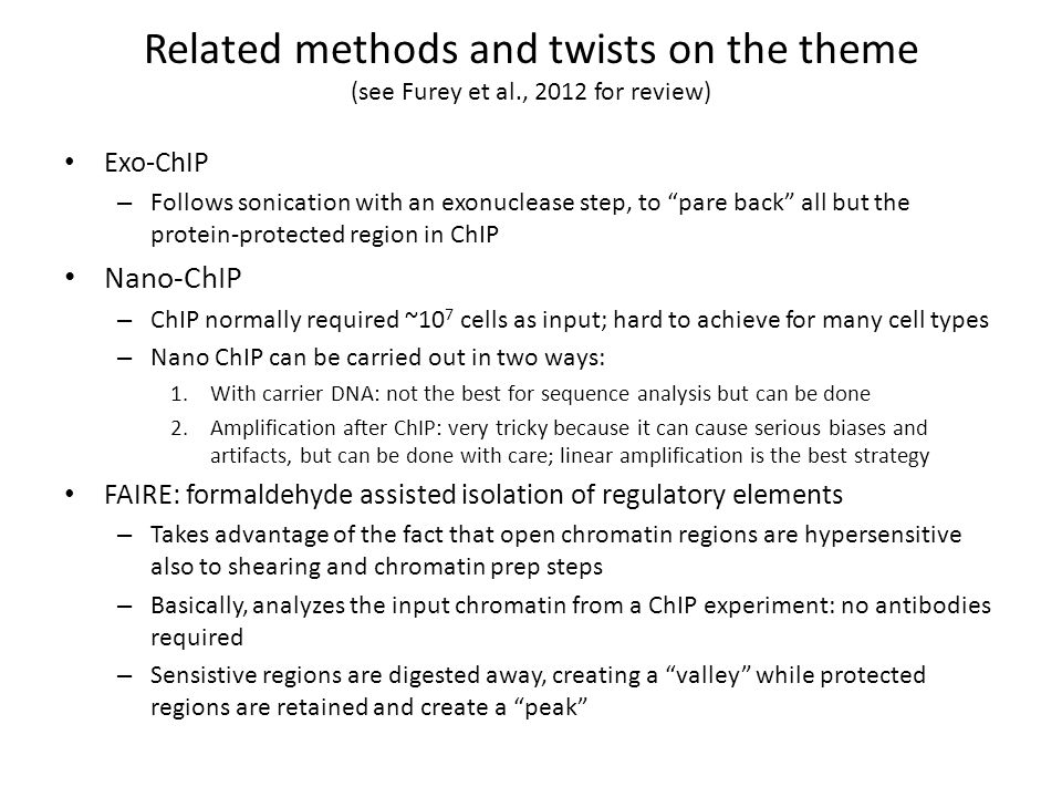 Related methods and twists on the theme (see Furey et al