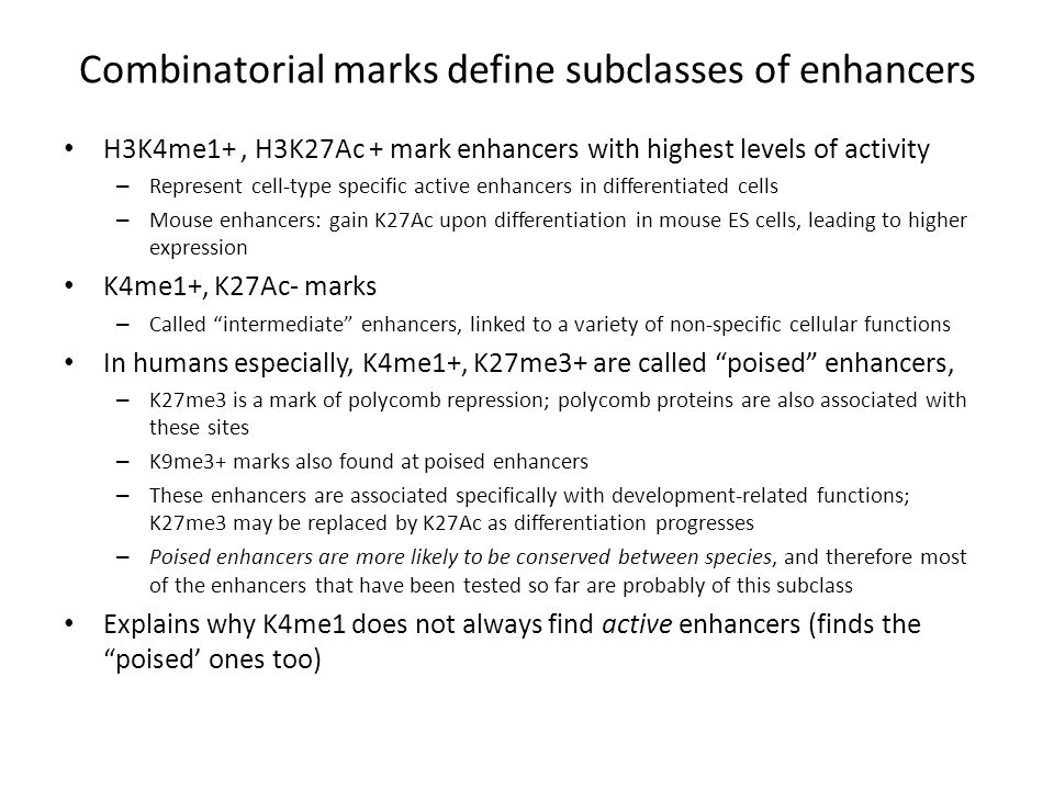 Combinatorial marks define subclasses of enhancers