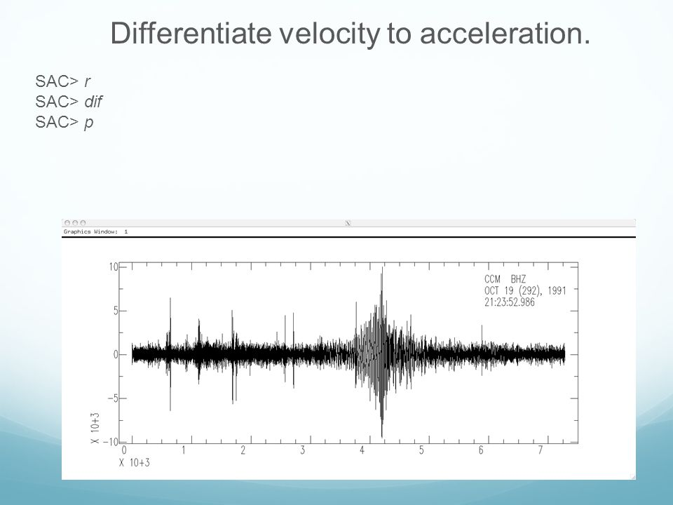 Differentiate velocity to acceleration.