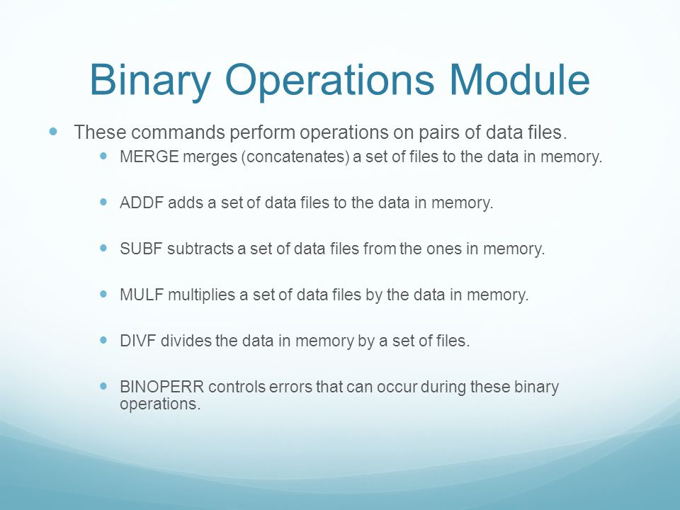 Binary Operations Module