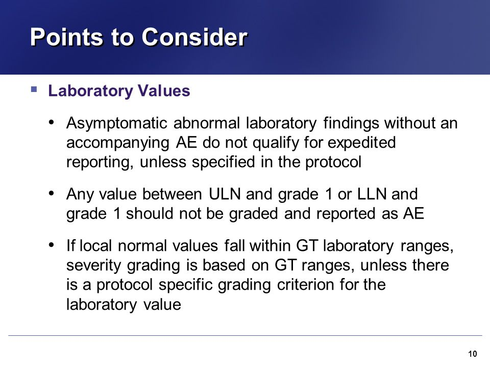 Points to Consider Laboratory Values