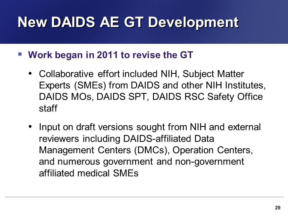 New DAIDS AE GT Development