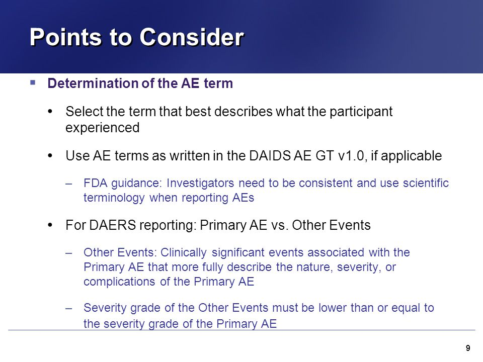 Points to Consider Determination of the AE term