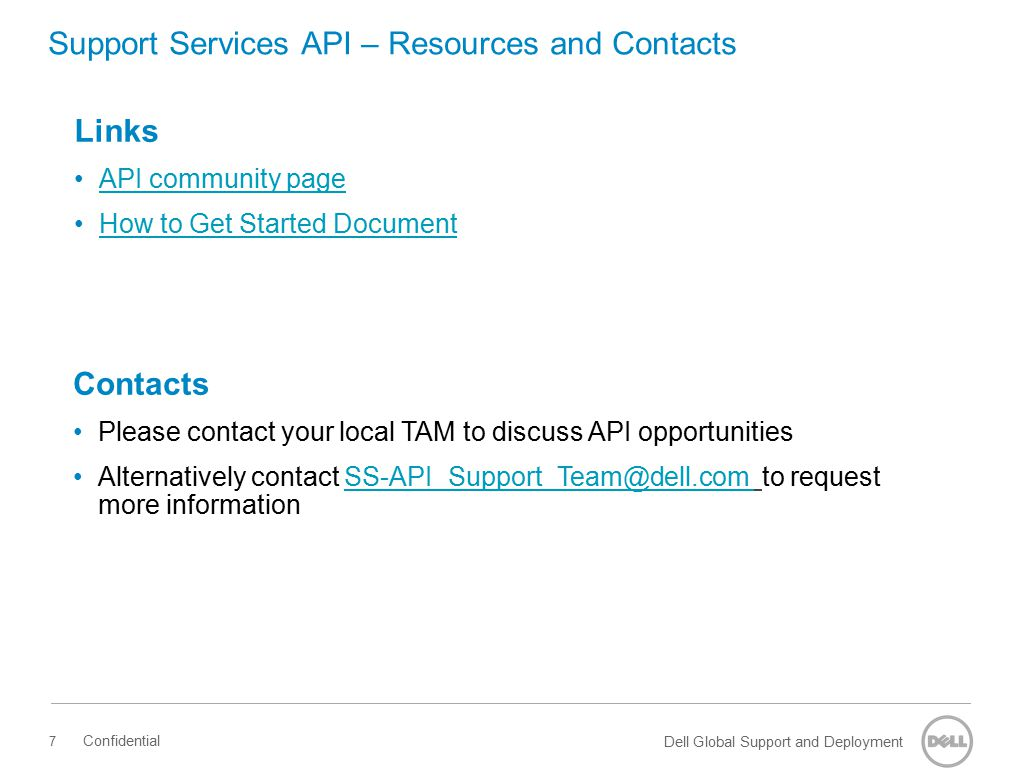 Support Services API – Resources and Contacts