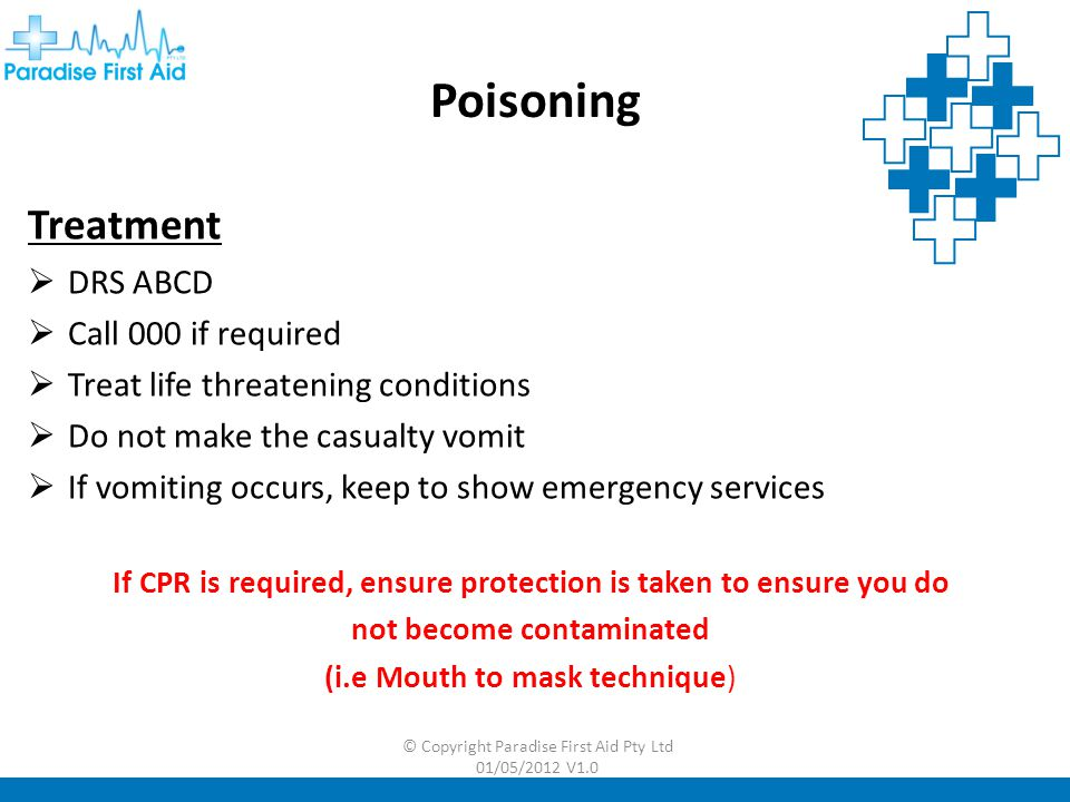 Poisoning Treatment DRS ABCD Call 000 if required