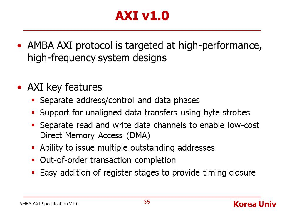 AXI v1.0 AMBA AXI protocol is targeted at high-performance, high-frequency system designs. AXI key features.