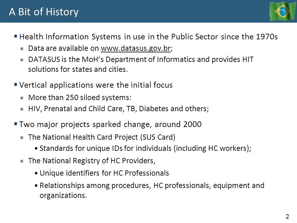 A Bit of History Health Information Systems in use in the Public Sector since the 1970s. Data are available on www.datasus.gov.br;