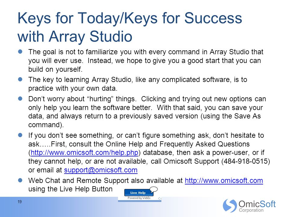 Keys for Today/Keys for Success with Array Studio