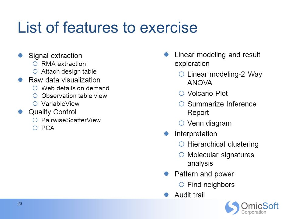 List of features to exercise