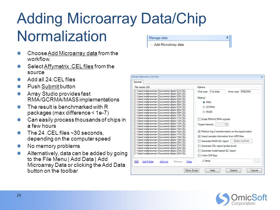 Adding Microarray Data/Chip Normalization