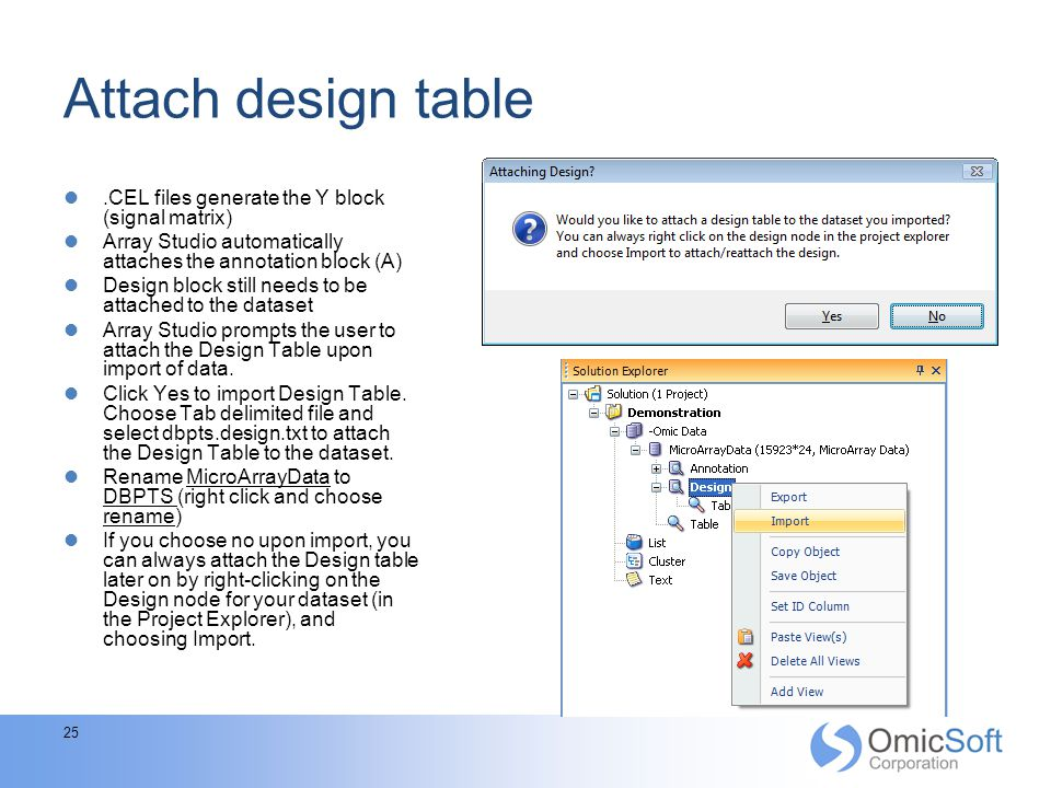Attach design table .CEL files generate the Y block (signal matrix)