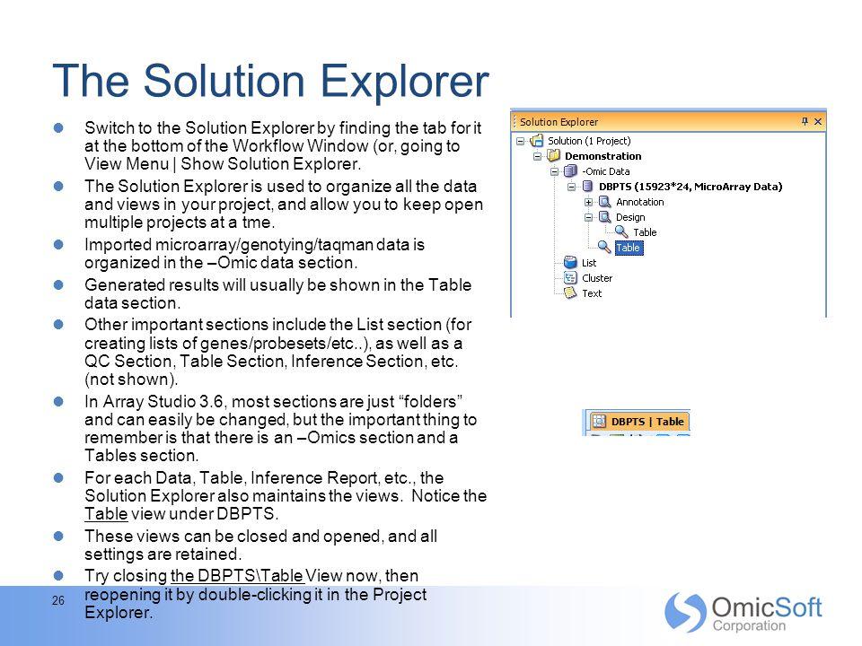 The Solution Explorer